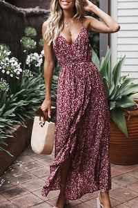 Sexy Floral Printed Elastic Waist Sling Sleeveless Maxi Dress