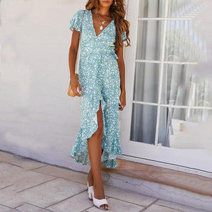 V-Neck Fashion Ruffled Print Dress