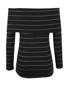 Fashion Off Shoulder Stripes Long Sleeve T-Shirts