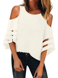 Round Neck  Cutout  Plain  Bell Sleeve Short Sleeve T-Shirts