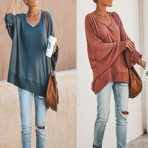 Sexy Solid Color Bat Sleeves Backless Long Sleeve Shirts