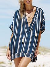 Load image into Gallery viewer, Loose Short Sleeve Stripes Printed Lace Up Casual Dress