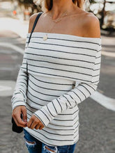 Load image into Gallery viewer, Fashion Off Shoulder Stripes Long Sleeve T-Shirts