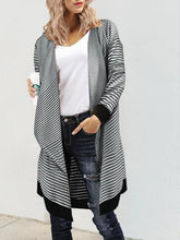 Load image into Gallery viewer, Wild Stripe Irregular Sweater Shawl Jacket Cardigan