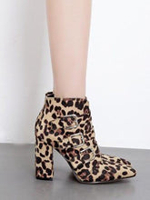 Load image into Gallery viewer, Fashion Leopard-Print Snake High Heel Boots