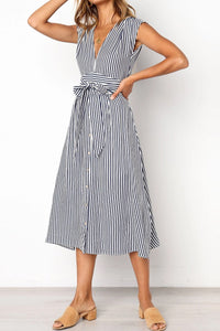 V-Neck Striped Fringed Lace Dress