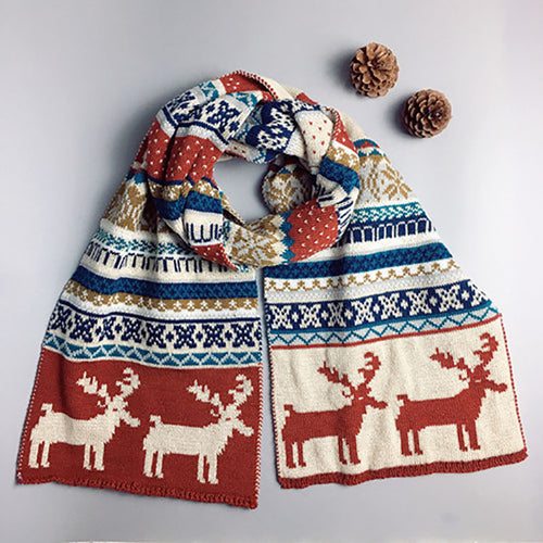 Autumn And Winter Christmas Double-faced Deer Scarf