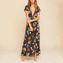 Load image into Gallery viewer, Floral Printed Sexy V Collar Short Sleeved Dress
