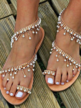 Load image into Gallery viewer, Bohemian Pearl Tassel Clip Toe Beach Flat Sandals