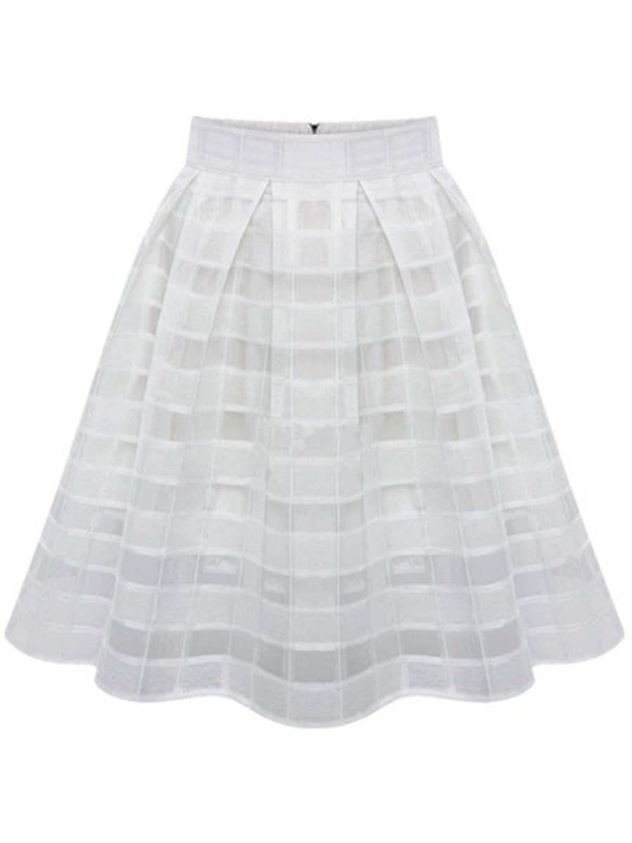Inverted Pleat  Hollow Out Plaid Plain  Flared Midi Skirt