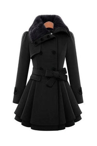 Fold Over Collar Double Breasted Fur Collar Belt Patchwork Coats