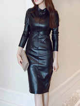 Load image into Gallery viewer, Band Collar Plain Slit Faux Leather Bodycon Dress