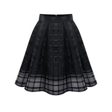 Load image into Gallery viewer, Inverted Pleat  Hollow Out Plaid Plain  Flared Midi Skirt