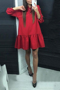 Fashion Solid Long Sleeves Mini Dress