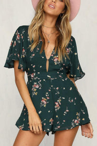 Casual Fashion Floral Print Backless Romper