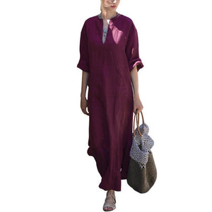 Oversized Women Long Sleeve Solid Cotton Maxi Dress