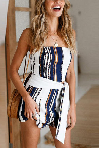 Sexy Stripe Sleeveless Two-Piece Rompers Suits