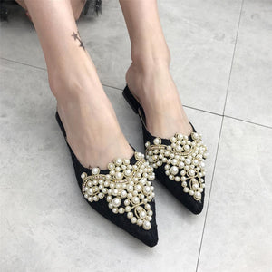 Fashion Sweet Pointed Pearl  Flat Muller Slipper
