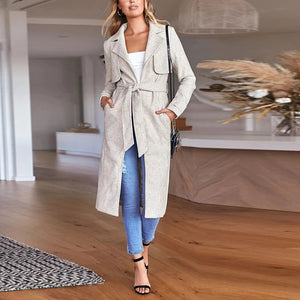Fashion Solid Colour Long Sleeve Lace Up Cardigan