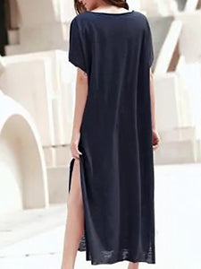 Short-Sleeved Open-Collar Split-Length Maxi Dress