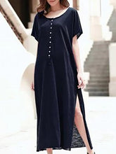 Load image into Gallery viewer, Short-Sleeved Open-Collar Split-Length Maxi Dress
