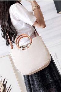 Fashion Plain Straw Wood Handle One Shoulder Hand Bag
