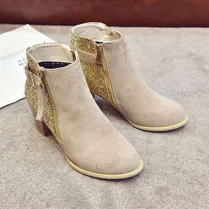 Sequins In Thick Heel Zipper Color Matching Ladies Ankle Boots