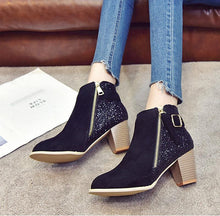 Load image into Gallery viewer, Sequins In Thick Heel Zipper Color Matching Ladies Ankle Boots