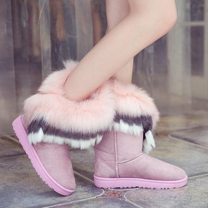 Faux Fox Fur Rabbit Snow Boots