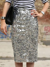 Load image into Gallery viewer, Silver Sexy Sequined Bodycon Skirt