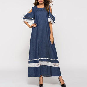 Hollow Out Patchwork Round Neck Maxi Dress