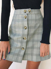 Load image into Gallery viewer, Plaid High Waist Single-Breasted Short Skirt
