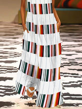 Load image into Gallery viewer, Fashion V Neck Colorful Striped Casual Maxi Dress