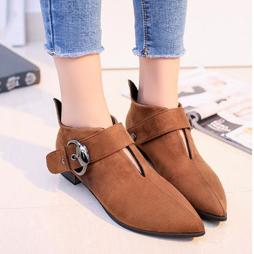 Belt Buckle Booties Thick And Suede Girl Comfort Low Tube And Bare Boots