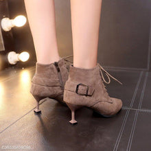 Load image into Gallery viewer, Cross Straps Short Tube Martin Boots With Pointed Toe Boots