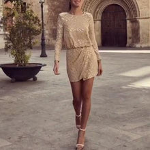 Load image into Gallery viewer, Sexy Sequin Long Sleeve Bodycon Dress Mini Dress