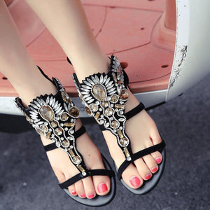 Flower With Rhinestone Gemstone Flat Sandals
