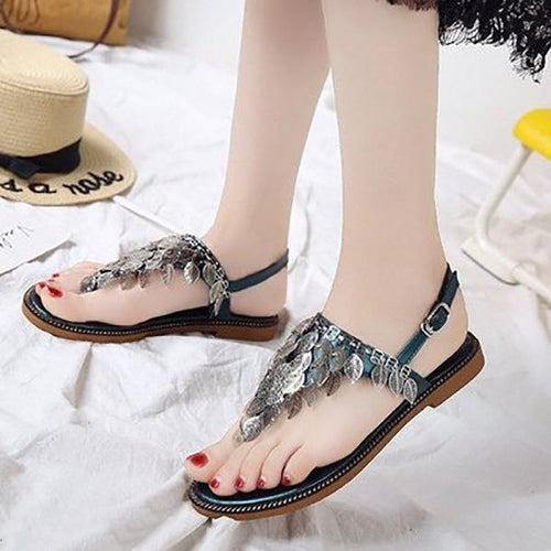 Leaves Small Fresh Ladies Pin Flat Sandals Fashion Wild Sandals