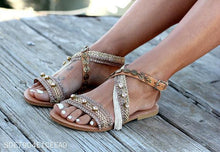 Load image into Gallery viewer, Europe And America Beaded Tassels Ankle Cross Buckle Sandals