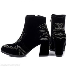 Load image into Gallery viewer, Embroidered Ankle Boots