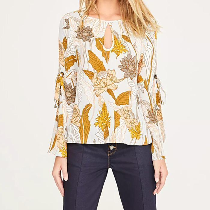 Floral Print Backless Flare Sleeve Backless Blouse