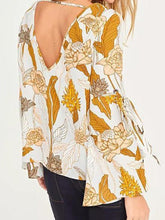 Load image into Gallery viewer, Floral Print Backless Flare Sleeve Backless Blouse