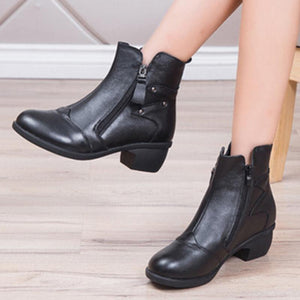 Leather Chunky Martin Boots