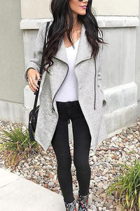 Fashion Irregularity Zipper Lapel Outerwear Cardigans