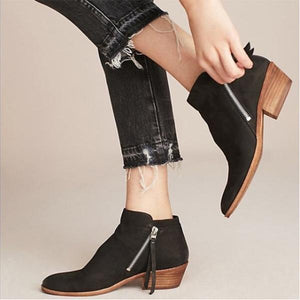 Fashion Side Zip Ankle Boots