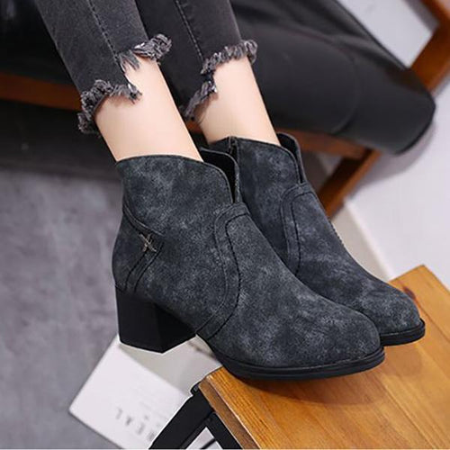Fashionable Chunky Ankle Boots