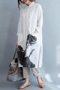 Casual Vacation Loose Print Button Front V Collar Long Sleeve Maxi Dress