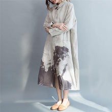 Load image into Gallery viewer, Casual Vacation Loose Print Button Front V Collar Long Sleeve Maxi Dress