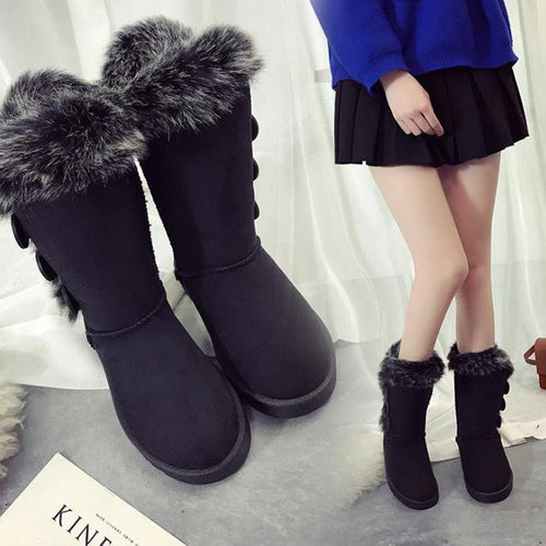 Warm Snow Booties Women Winter Shoes Fur Mid-Calf Boots
