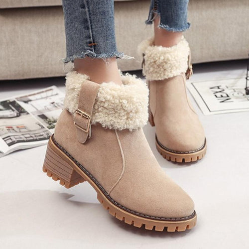 Plain  Velvet Round Toe Casual Date Short High Heels Boots